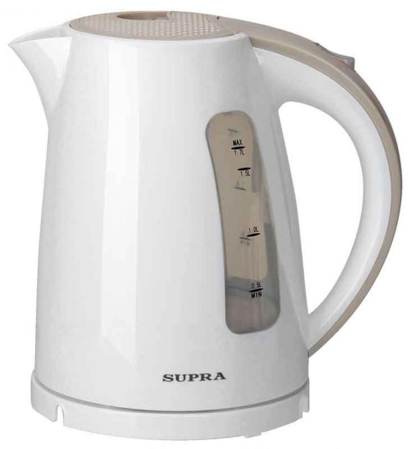 Чайник Supra KES-1726 2200 Вт 1.7 л пластик белый бежевый электрический чайник supra kes 1726 белый желтый kes 1726 белый желтый
