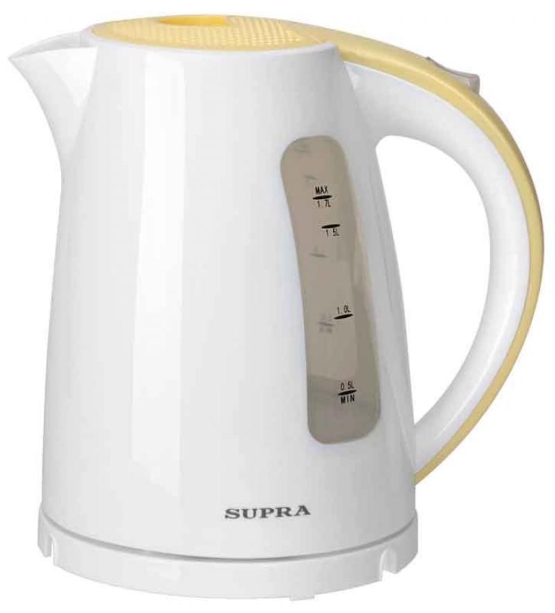 Чайник Supra KES-1726 2200 Вт 1.7 л пластик белый жёлтый электрический чайник supra kes 1726 белый желтый kes 1726 белый желтый