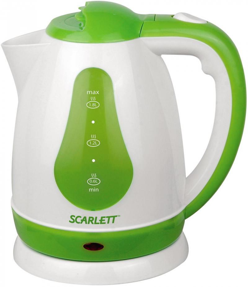 Чайник Scarlett SC-EK18P30 1700 Вт 1.8 л пластик белый зелёный scarlett чайник scarlett is 503 белый