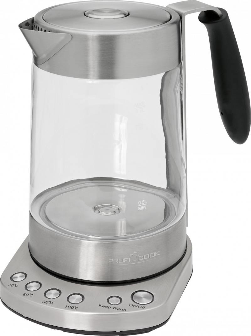 Чайник Profi Cook PC-WKS 1020 G 3000 Вт 1.7 л металл/стекло прозрачный