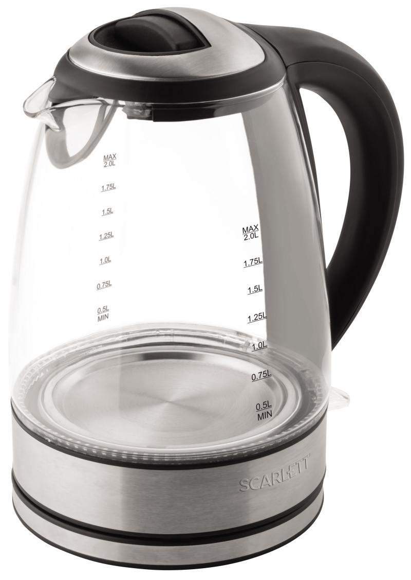 Чайник Scarlett SC-EK27G18 2200 Вт чёрный серебристый 2 л пластик/стекло вентилятор напольный scarlett sc 1177 black