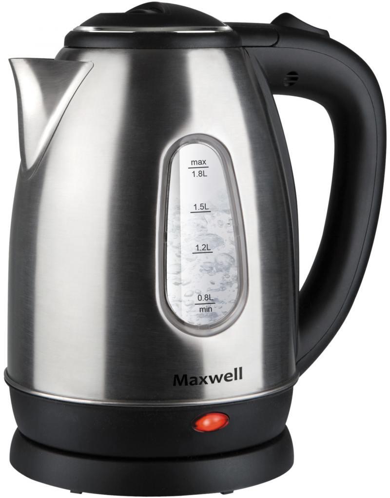 Чайник Maxwell MW-1082(ST) 1850 Вт серебристый чёрный 1.8 л металл/пластик