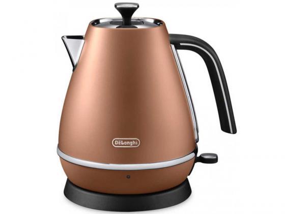 Чайник DeLonghi KBI 2001 CP 2000 Вт 1.7 л нержавеющая сталь коричневый кофемашина delonghi ecam 45 760 w белый