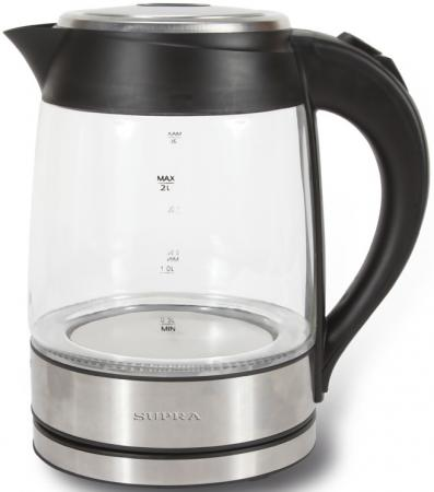 Чайник Supra KES-2005 2200 Вт серебристый чёрный 2 л металл/стекло чайник supra kes 2009 2200 вт 1 8 л пластик стекло чёрный