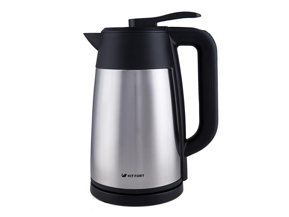 Чайник электрический Kitfort КТ-620-2 1.7л. 2200 Вт серебристый/черный (корпус: нержавеющая сталь/пластик) чайник kitfort kt 620 1 2200 вт белый чёрный 1 7 л нержавеющая сталь