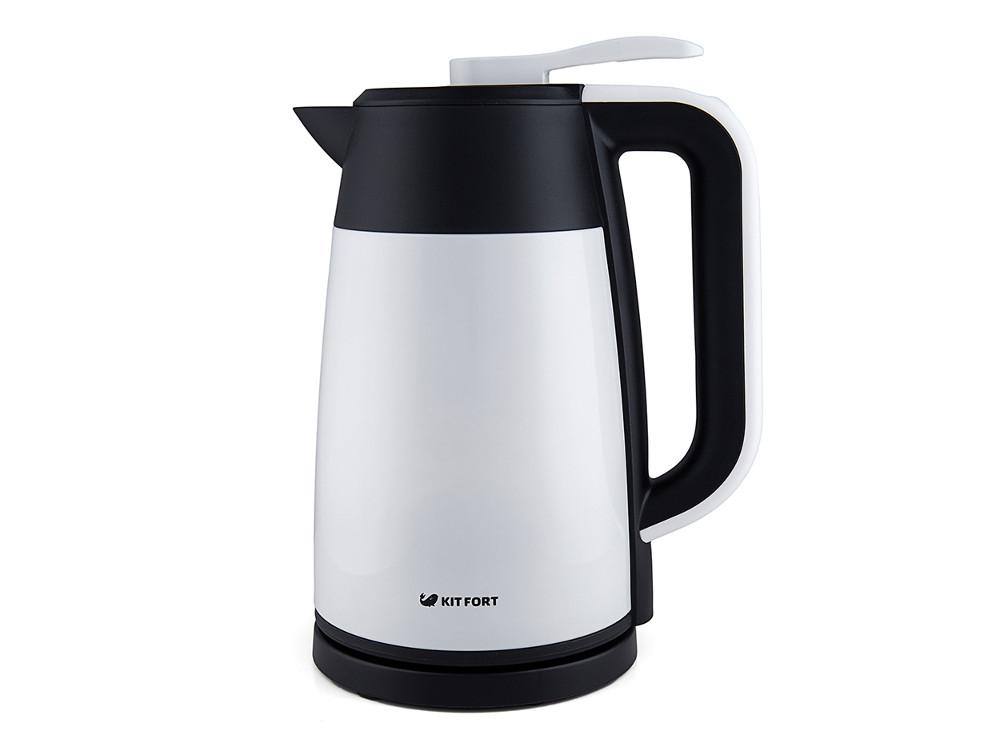 Чайник электрический Kitfort КТ-620-1 1.7л. 2200 Вт белый/черный (корпус: нержавеющая сталь/пластик) чайник kitfort kt 620 1 2200 вт белый чёрный 1 7 л нержавеющая сталь