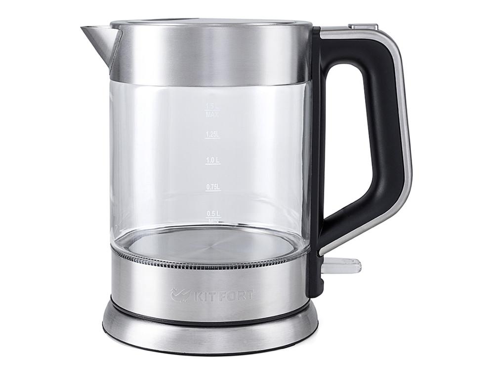 Чайник электрический Kitfort КТ-617 1.5л. 2000 Вт серебристый/черный (корпус: нержавеющая сталь/стекло) все цены