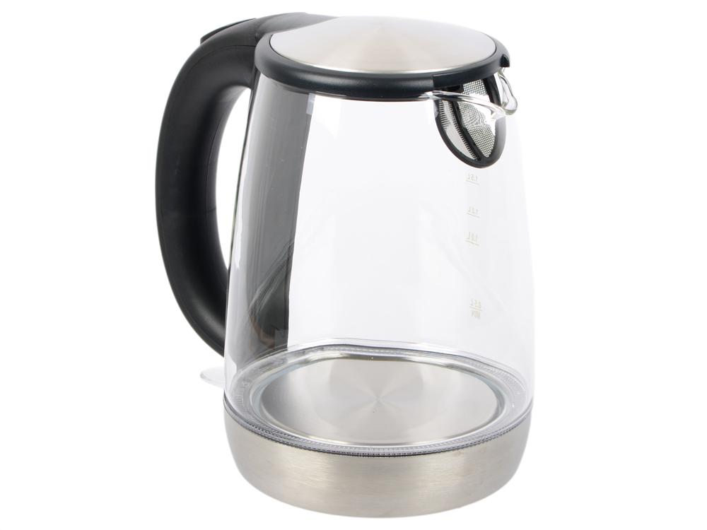 Чайник электрический Kitfort КТ-619 1.7л. 2200 Вт серебристый/черный (корпус: нержавеющая сталь/стекло)