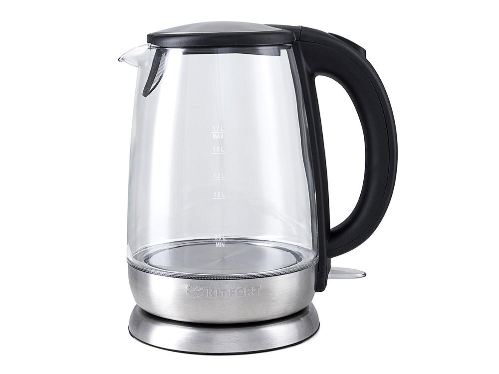 Чайник электрический Kitfort КТ-619 1.7л. 2200 Вт серебристый/черный (корпус: нержавеющая сталь/стекло) все цены