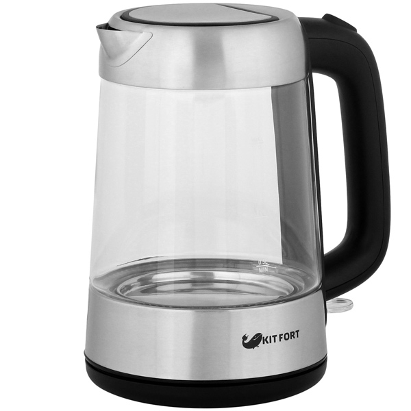 Чайник Kitfort КТ-610 серебристый/черный 2000 Вт, 1.7 л, стекло фритюрница kitfort кт 2024 черный серебристый