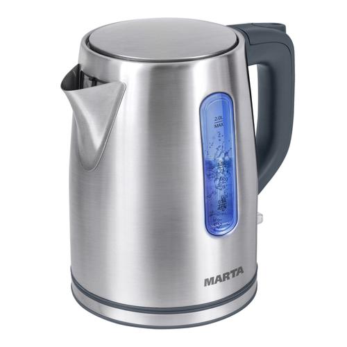Чайник Marta MT-1093 серый жемчуг 2200 Вт, 2 л, металл чайник marta mt 1094 2200 вт черный жемчуг 2 л пластик стекло