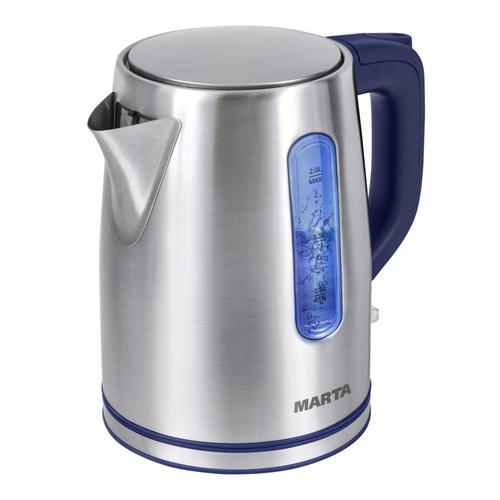 Чайник Marta MT-1093 синий сапфир 2200 Вт, 2 л, металл чайник clatronic wks 3625 2200 вт фиолетовый 1 8 л металл