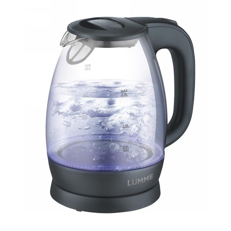 Чайник LUMME LU-136 серый жемчуг 2200 Вт, 2 л, стекло