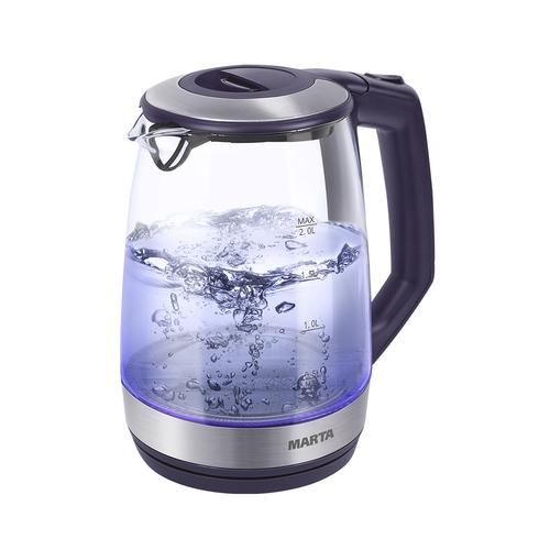 Чайник Marta MT-1095 темный топаз 2200 Вт, 2 л, стекло мультиварка marta mt 4314 темный агат