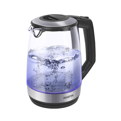 Чайник Marta MT-1095 черный жемчуг 2200 Вт, 2 л, стекло чайник электрический marta mt 1095 черный жемчуг