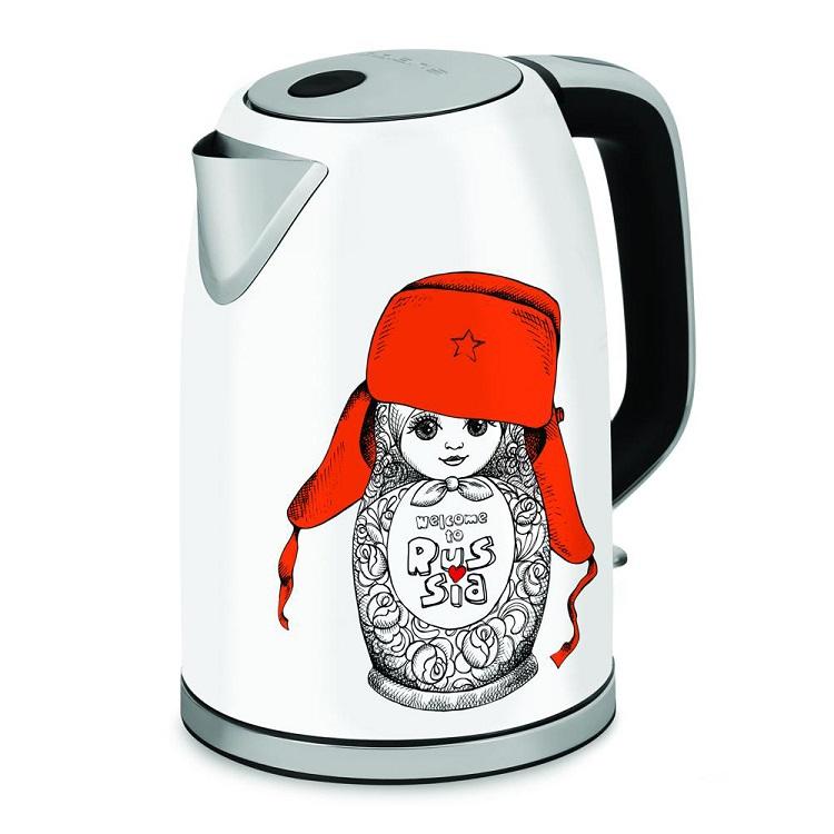 Чайник Polaris PWK 1715CA белый/рисунок 2200 Вт, 1.7 л, металл чайник clatronic wks 3625 2200 вт фиолетовый 1 8 л металл