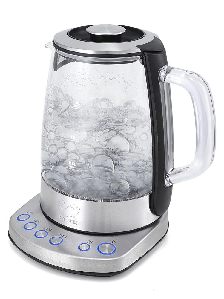 Чайник Kitfort KT-626, 2200Вт, 1.5л, стекло, метал [KT-626]