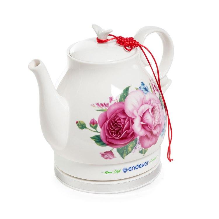 все цены на Чайник Endever KR-400C белый 1600Вт, 1.6л, керамика онлайн