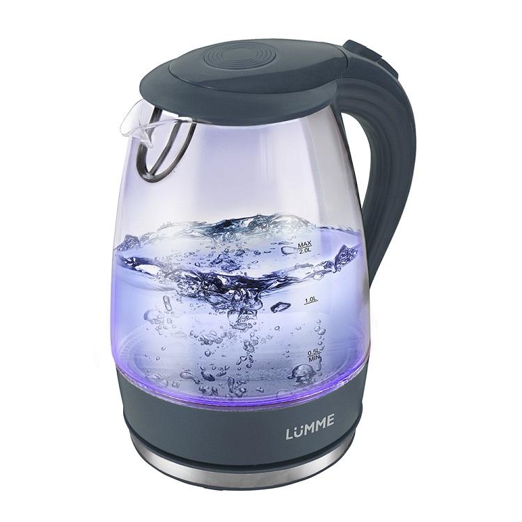 все цены на Чайник LUMME LU-216, 2200Вт, 2л, стекло, серый жемчуг онлайн