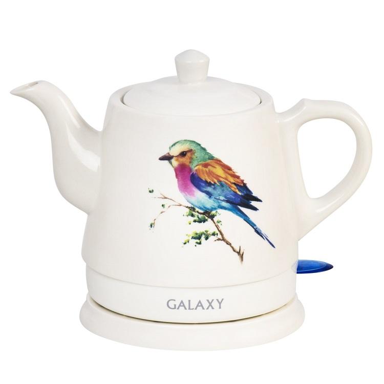 Чайник Galaxy GL0501 белый 1400 Вт, 1 л, керамика чайник galaxy gl0504 1400 вт белый 1 2 л керамика