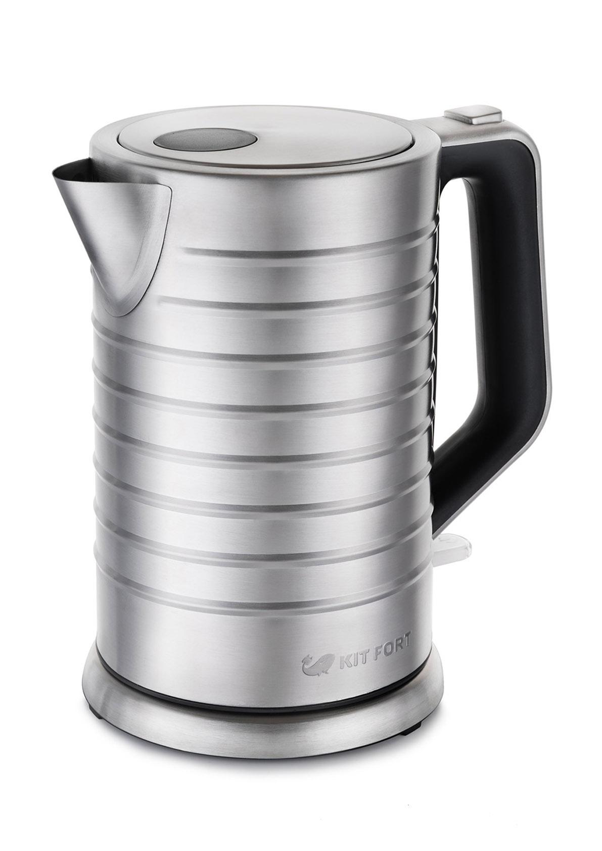 Картинка для Чайник электрический Kitfort КТ-627 1.7л. 2200Вт серебристый (корпус: металл/пластик)