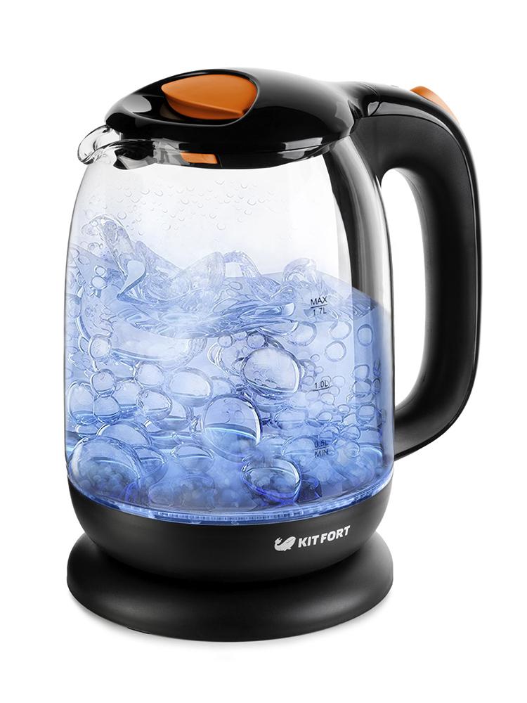 Чайник электрический Kitfort КТ-625-3 1.7л. 2200Вт черный/оранжевый (корпус: стекло) все цены