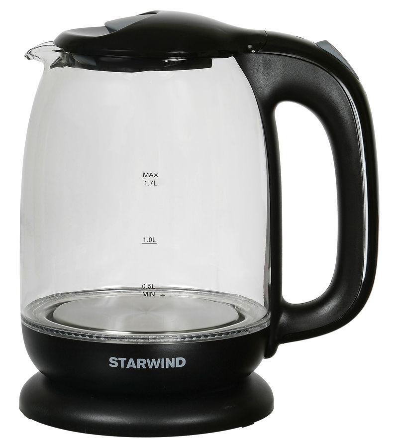Чайник электрический Starwind SKG1210 1.7л. 2200Вт черный (корпус: стекло) чайник электрический starwind skp2211 2200вт белый