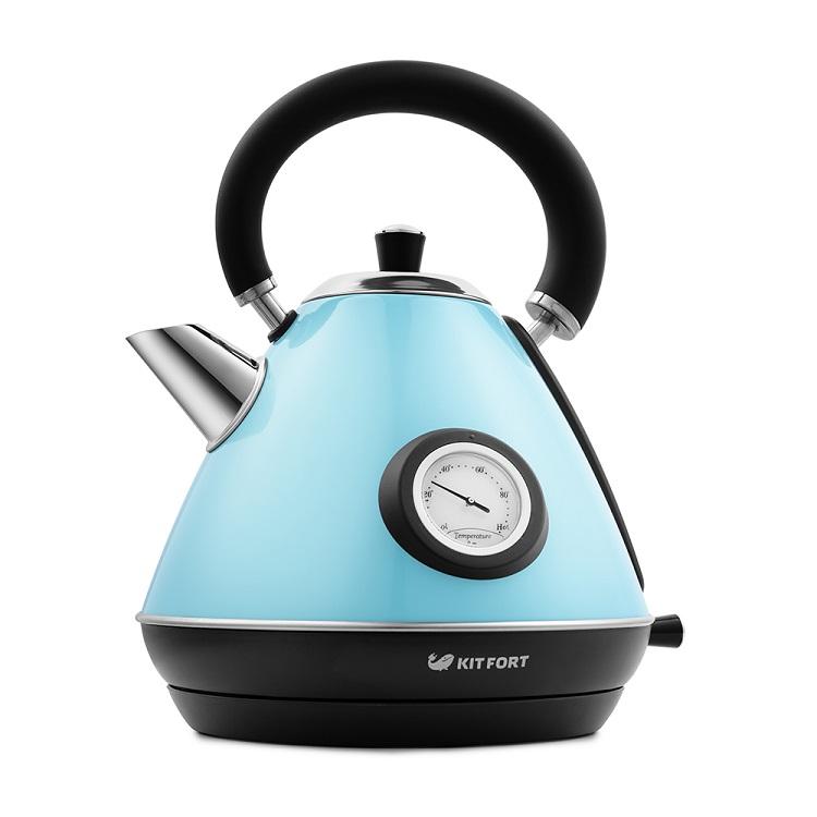 Чайник Kitfort КТ-644-1 голубой 2200 Вт, 1.7 л чайник clatronic wks 3625 2200 вт фиолетовый 1 8 л металл