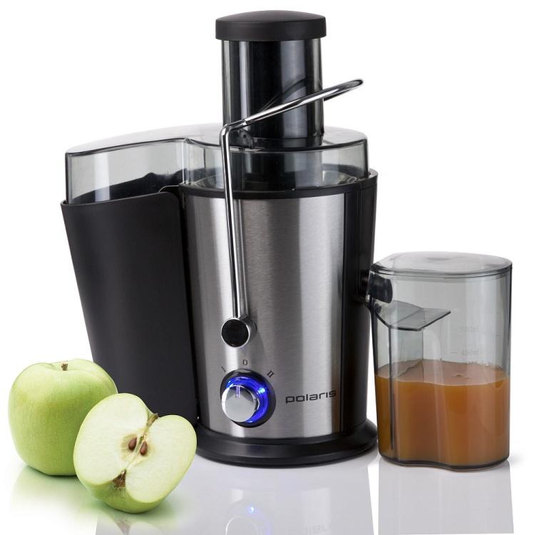 Соковыжималка POLARIS PEA 0818AL Стальной/черный мощность 800 Вт, стакан для сока в комплекте, подача сока сразу в стакан, автоматический выброс мяк