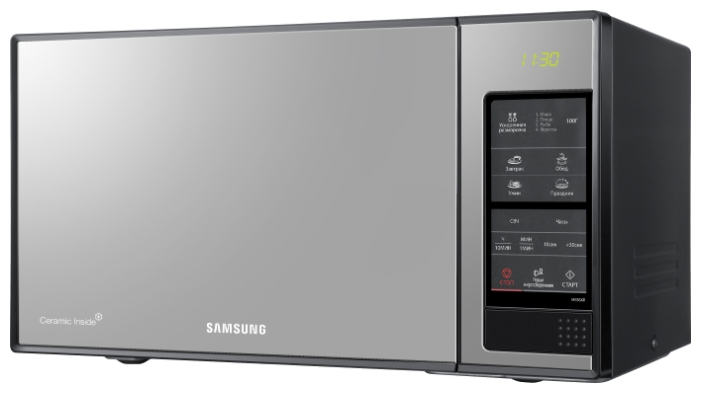 Микроволновая печь Samsung ME83XR мощность 850Вт, объем 23л, внутреннее покрытие- биокерамическая эмаль, цвет- черный внешний аккумулятор samsung eb pg930bbrgru 5100mah черный