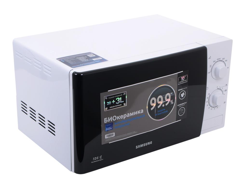 Микроволновая печь Samsung ME81KRW-1 мощность 800Вт, объем 23л, внутреннее покрытие- биокерамическая эмаль, автоматическая разморозка, цвет- белый