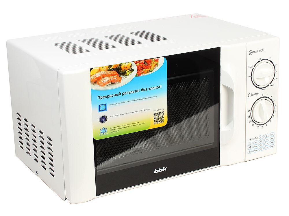 Микроволновая печь BBK 20MWG-743M/W белый (20 литров, соло, механическое управление, 700 Вт)