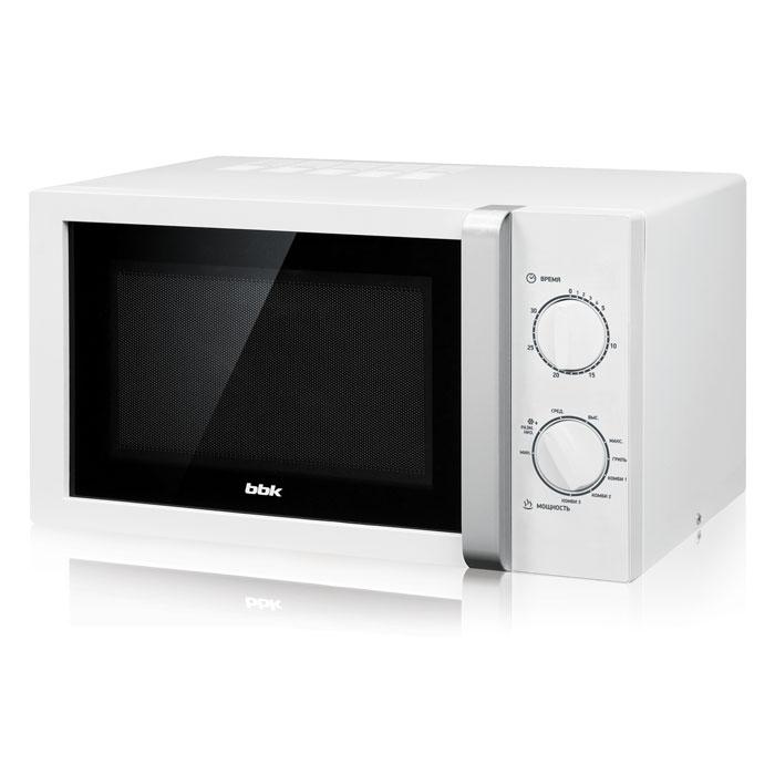 Микроволновая печь BBK 23MWG-845M/WS (гриль) белый/серебро (23 литров, механическое управление, 800 Вт)