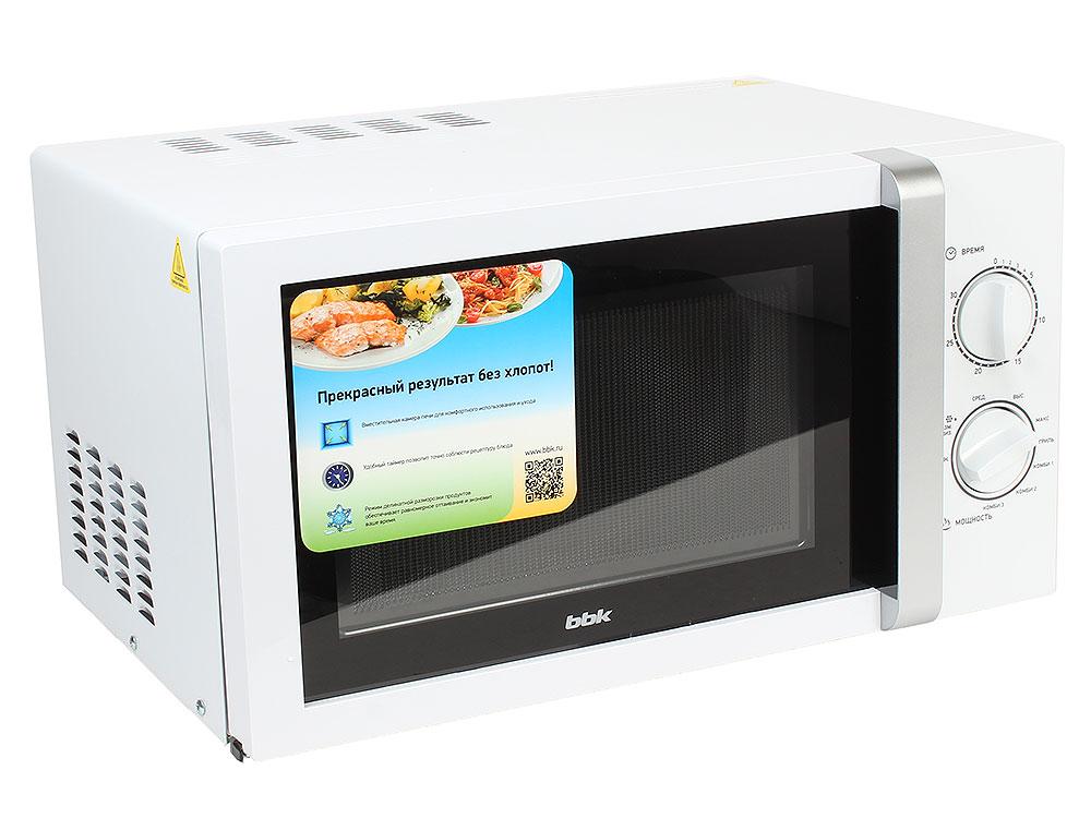 Микроволновая печь BBK 23MWG-845M/WS (гриль) белый/серебро (23 литров, механическое управление, 800 Вт) цена и фото