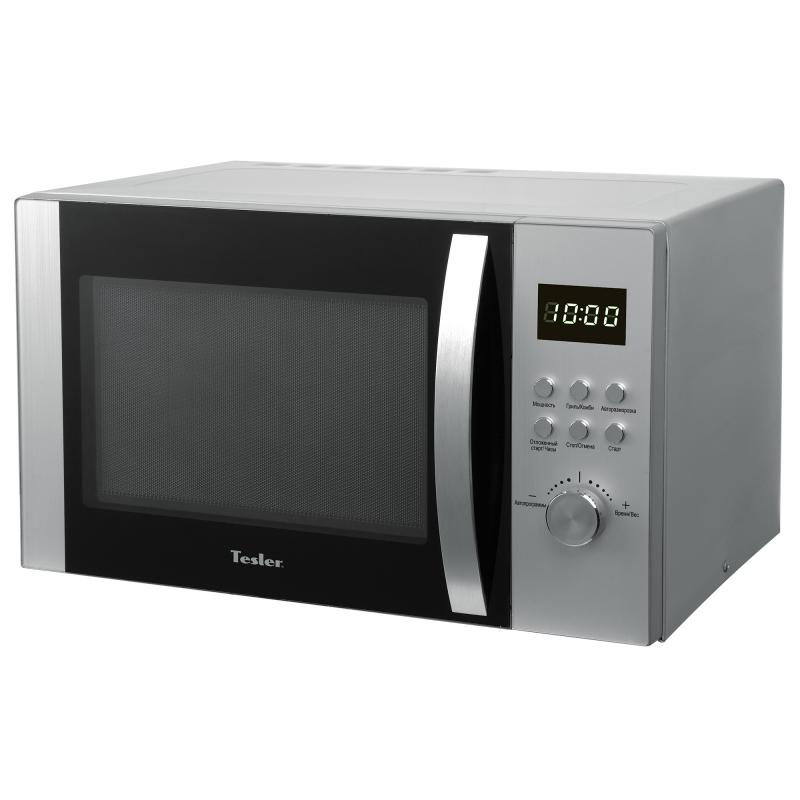 Микроволновая печь TESLER MG-2831 (28 литров, 900 Вт, гриль, электронное упр., серебристый) микроволновая печь bbk 23mws 927m w 900 вт белый