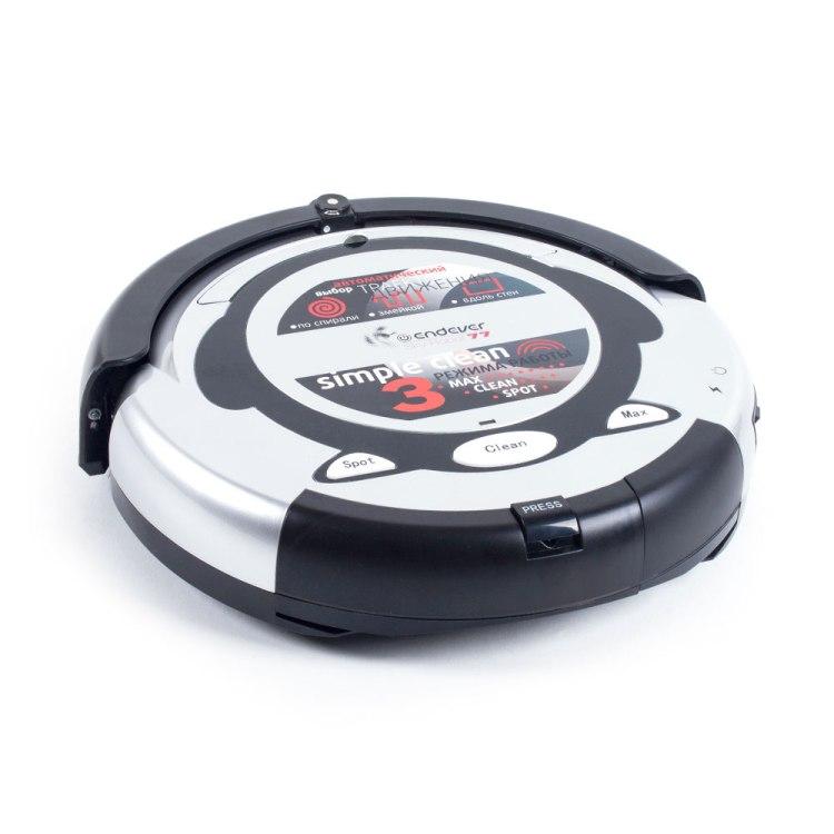 лучшая цена Робот-пылесос Endever SKYROBOT-77 белый/черный 3 режима, виртуальная стена, аккум на 80 мин, пульт ДУ, мягкий бампер