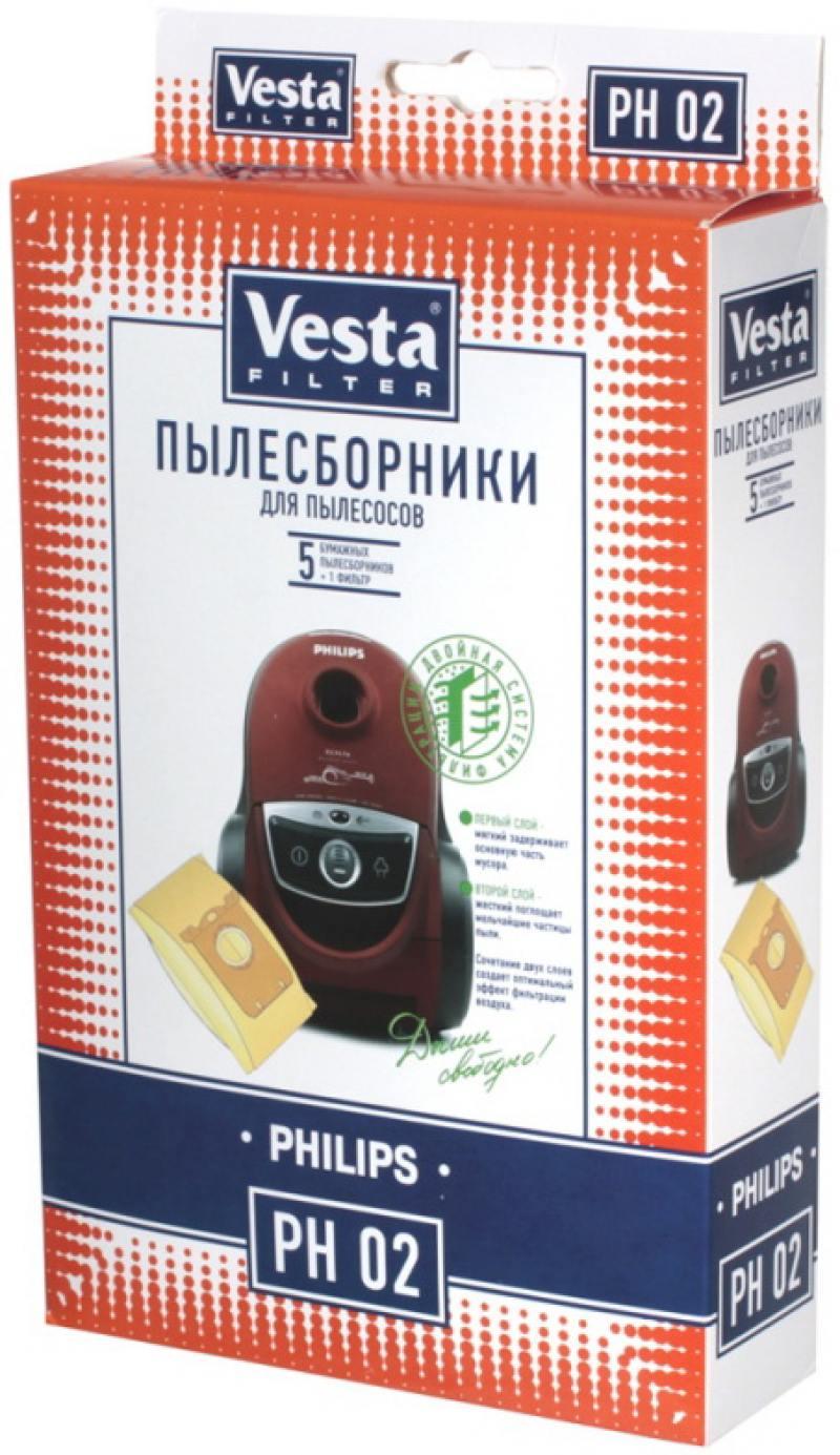 Комплект пылесборников Vesta PH 02 5шт + фильтр vesta filter ts 06 комплект пылесборников 4 шт фильтр