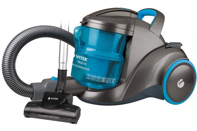 Пылесос Vitek VT-1835B 1800/400Вт аквафильтр серо-синий пылесос vitek vt 1895 b