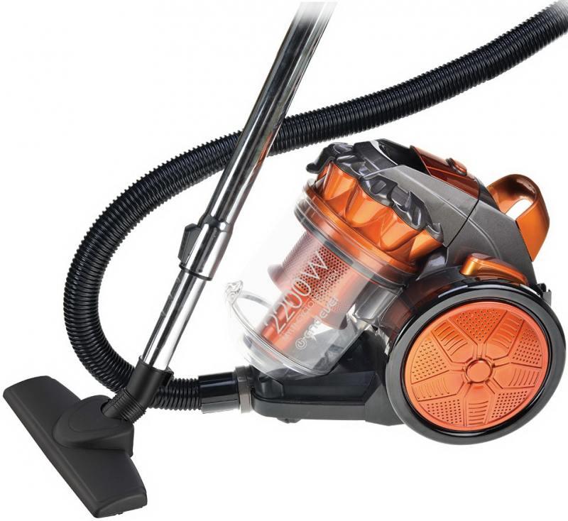 Пылесос циклонного типа Endever VC-570, серый/оранжевый, мощность 2200 Вт, мощность всасывания 400 Вт, Система фильтрации- Циклон + HEPA фильтр пылесос endever vc 540