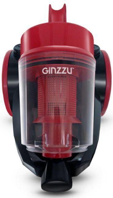 цена Пылесос Ginzzu VS422, 1600/270Вт, без мешка, черный/красный