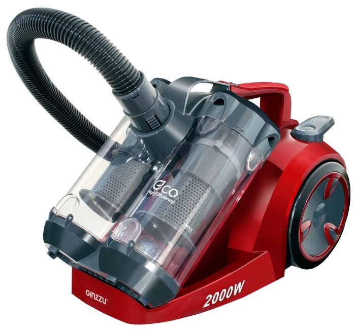 Пылесос Ginzzu VS439, 2000/410Вт, без мешка, серый/красный цена