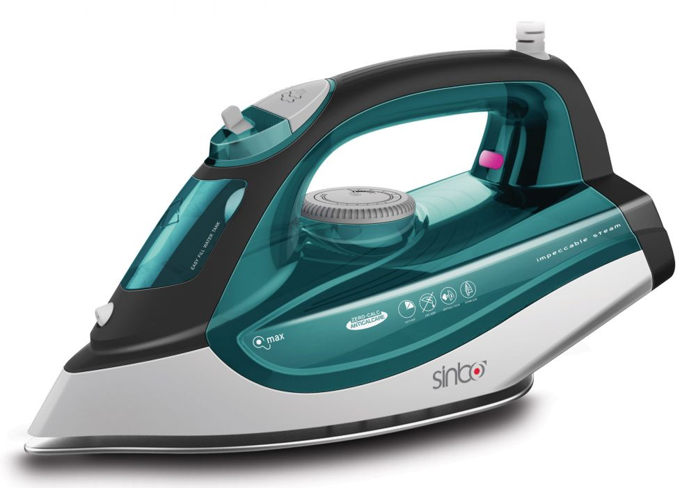 Утюг Sinbo SSI 6612 зеленый/белый 2200Вт, подошва тефлон, автооткл, противокапля утюг sinbo ssi 2875 2200вт коричневый