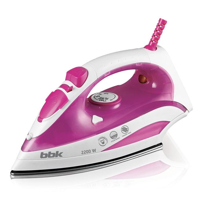 Утюг BBK ISE-2200 розовый 2200Вт, керам. подошва, подача пара, вертикал. отпаривание, паровой удар