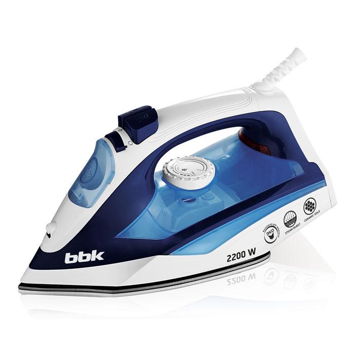 Утюг BBK ISE-2201 темно-синий 2200Вт, керам. подошва, подача пара, вертикал. отпаривание, паровой удар