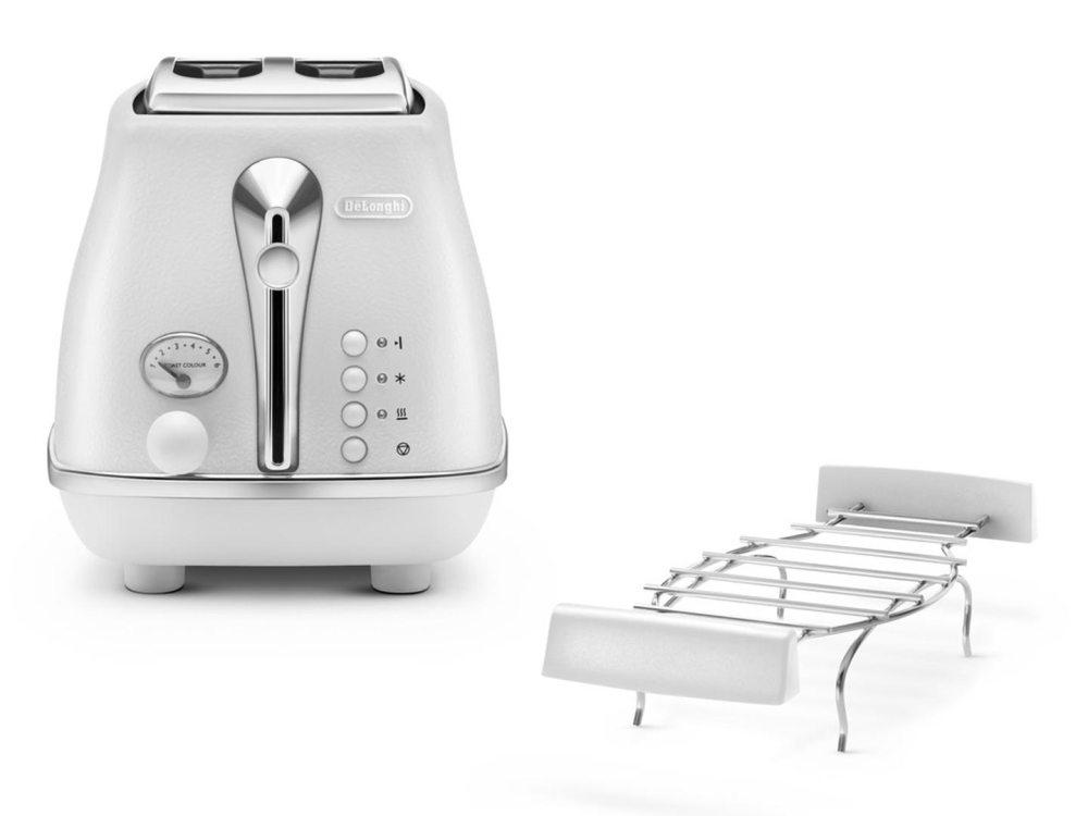 Тостер DeLonghi CTOE 2103 W, 900Вт, белый тостер delonghi ctj 2003 w
