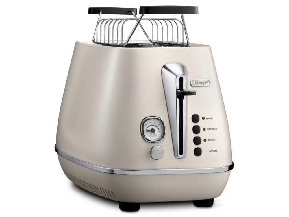 Тостер DeLonghi CTLA 2103.W, 900Вт, разморозка, на 2 тоста, решетка для подогрева, поддон, белый тостер delonghi ctj 2003 w