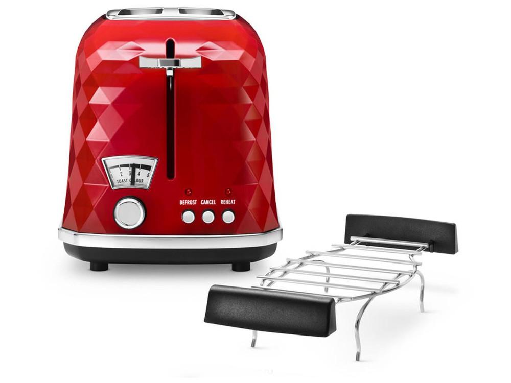 Тостер DeLonghi Brilliante CTJ2103.R, 900Вт, красный сэндвич тостер ariete 1981 900вт