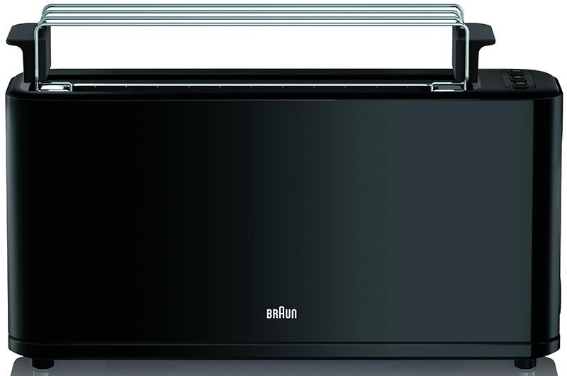 Тостер Braun HT 3110 BK чёрный 1000Вт, на 1 тост, разморозка, ненагрев.корпус, решётка для подогрева, 7 степеней нагрева