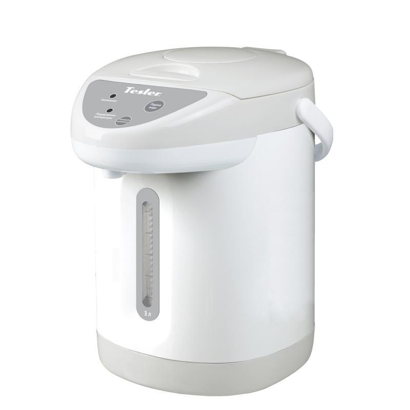 все цены на Термопот TESLER TP-3001, 3 литра, 750 Вт., корпус - пластик, колба - нерж. сталь, белый/серый онлайн