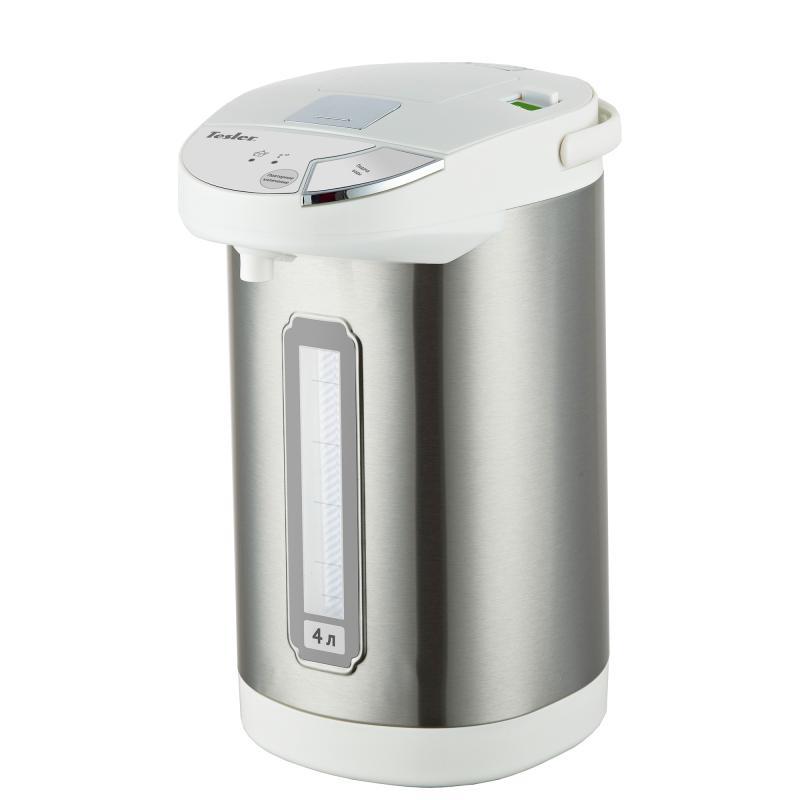 Термопот TESLER TP-4001, 4 литра, 750 Вт., корпус - пластик/нерж. сталь, колба - нерж. сталь, белый/нерж. сталь